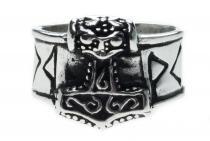 Wikinger Ring ~ THOR ~ h: 1.3 cm - Thorshammer mit Runen - Vintage Silber - Windalf.de