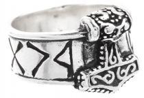 Wikinger Ring ~ THOR ~ 1.3 cm - Thorshammer mit Runen - Vintage Silber - Windalf.de
