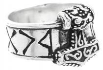 Wikinger Ring ~ THOR ~ 13 mm - Thorshammer mit Runen - Vintage Silber - Windalf.de