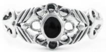 Mittelalter-Ring ~ NASTÂSIA ~ 0.9 cm - Onyx - Gothic Ring - Silber - Windalf.de