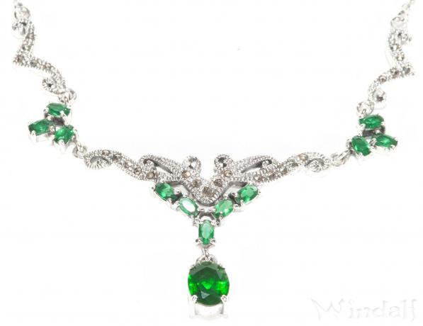 Halskette ~ LUCIA ~ 47 cm - Grüner Smaragd - Silber - Windalf.de