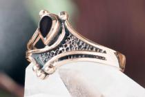 Vintage Ring ~ ASKINA ~ 1.2 cm - Gothic Schmuck - Schwarzer Onyx - Bronze - Windalf.de