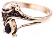 Vintage Ring ~ ASKINA ~ 12 mm - Gothic Schmuck - Schwarzer Onyx - Bronze - Windalf.de