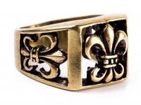 Ritter Ring ~ DARSAN ~ Schwertlilien - Fleur de Lis - Bronze - Windalf.de