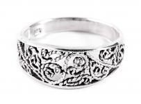 Mittelalter-Ring ~ MIRA ~ h: 0.8 cm - Lebens-Spiralen Ornamentik - Silber - Windalf.de