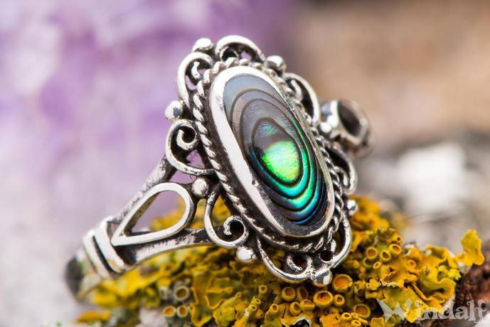 Ring ~ LÎNA ~ Mittelalter Ornamentik - Seeopal - Silber - Windalf.de