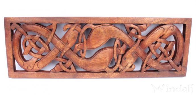 Keltische Hunde Norcana B 45 Cm Wanddeko Handarbeit Aus Holz