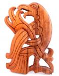 Wandbild ~ MUNIN ~ 24 cm - Wikinger Rabe - Links schauend - Handarbeit aus Holz - Windalf.de
