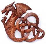 Deko Keltischer Drache ~ DARIAN ~ b: 25 cm - Wand-Deko - links schauend - aus Holz - Windalf.de
