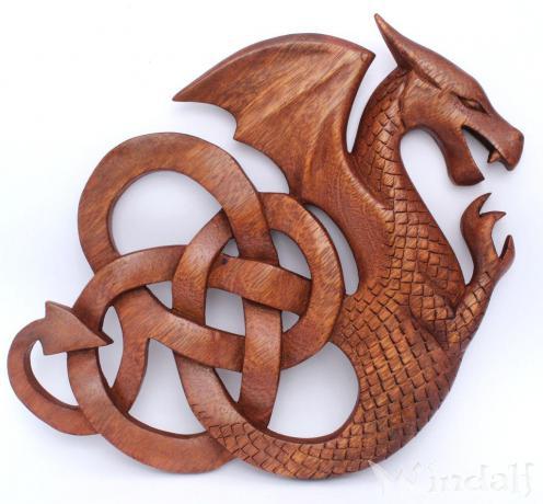 deko keltischer drache darian wand deko rechts schauend aus holz wikinger und kelten. Black Bedroom Furniture Sets. Home Design Ideas