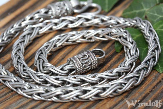 Wikinger Halskette ~ RAGNAR ~ 60 cm - Vintage Halsschmuck - Handgearbeitet Silber - Windalf.de