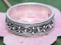 Magischer Wunsch-Ring ~ SINIA ~ 0.7 cm - Elfenglück Midi-Ring - Freundschaftsring - Handarbeit Silber - Windalf.de