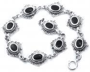 Gothic Armkette ~ MÉDIÉVALE ~ 19 cm - Mittelalter Design mit schwarzem Onyx - Freundschaftsband - Silber - Windalf.de