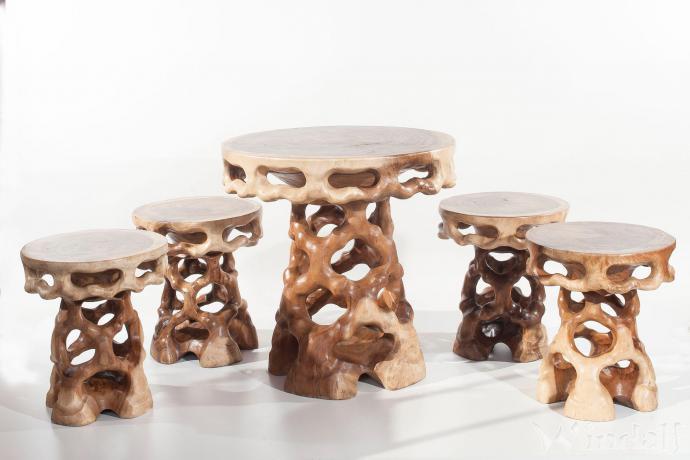 uriges garten set nevila tisch mit 4 hocker. Black Bedroom Furniture Sets. Home Design Ideas