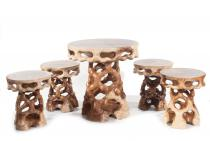 Hobbit-Style Garten-Set ~ NEVILA ~ Tisch mit 4 Hocker - Handgearbeitet - Holz - Windalf.de