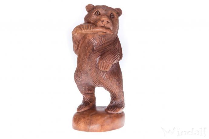 Holz Deko Figur ~ BALU ~ Chilliger Bär - Handgearbeitet aus Holz - Windalf.de