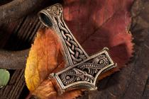 Großer Thorshammer ~ THUMÌR ~ 4.2 cm - Wikinger Kraft Amulett - Vintage Bronze-Anhänger - Windalf.de