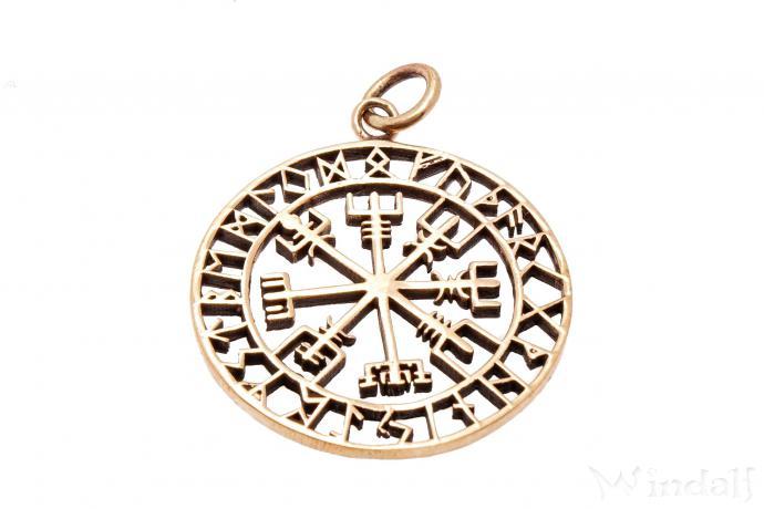 WINDALF Pagan Runen Schmuck Anhänger VEGVISIR 3.6 cm Wikinger Kompass Bronze