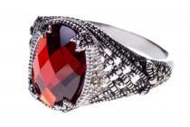 Mittelalter Ring ~ ARIAN ~ Roter Kristall - Silber - Windalf.de