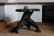 Handmade Schwarzer Kamintisch ~ BRIGAT ~ h: 46 cm - Kleiner Couchtisch - Unikat aus Wurzelholz - Windalf.de