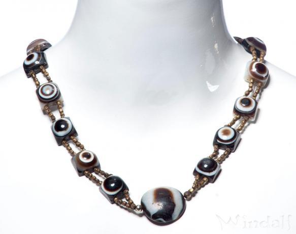 Antike Schutz-Halskette ~ INNANA ~ l: 56 cm - Achat-Augen - Rarität - Sulimany Achat - Windalf.de