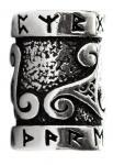 Pagan Haar- & Bartperle ~ TRIRUNA ~ h: 1.5 cm - Runen & Triskele - Silber - Windalf.de