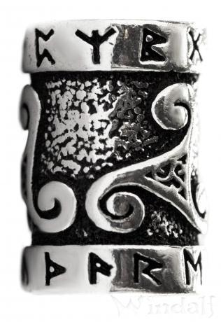 Celtic Haar- & Bartperle ~ TRIRUNA ~ Ø 0.7 cm - Runen & Triskele - Silber - Windalf.de