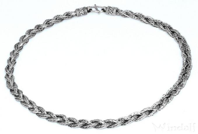 Wikinger Halskette ~ ASGARD ~ 55 cm - Handgearbeitet - Antik Silber - Windalf.de