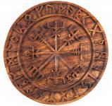 Wandbild ~ VEGVESIR ~ Wikinger Kompass mit Futhark - Holz - Windalf.de
