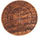 Asatru Holzbild ~ VEGVESIR ~  Ø 23 cm - Viking Kompass mit Futhark - Handarbeit aus Holz - Windalf.de