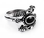 Wikinger Ring ~ JORMÛN ~ VIKINGS ~ Onyx - Silber - Windalf.de