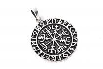 Wikinger Anhänger ~ VEGVISIR ~ Ø 2.7 cm - Wikinger Kompass mit Runenband -  925 Sterlingsilber - Windalf.de
