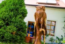 Deko Figur Eule auf Stab ~ ROYA ~ h: 80 cm - Eulen Holz Figur - Windalf.de