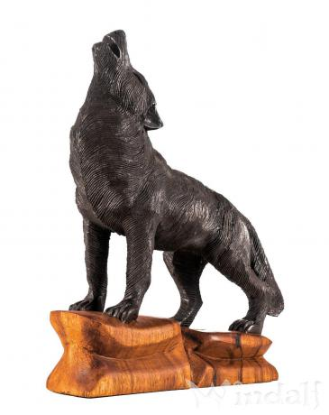 Schwarze Holzfigur ~ DASAN ~ h: 39 cm - Großer schwarzer Wolf - Handarbeit aus Holz - Windalf.de