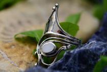 Langer Ring ~ VENICE ~ h: 3 cm - mit Perlmutt - Silber - Windalf.de
