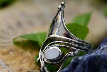 Langer Damen Ring ~ VENICE ~ 30 mm - Weißes Perlmutt - Silber - Windalf.de