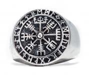 Runen Vikings Ring ~ VEGVESIR ~ 1.8 cm - Wikinger Lebens Kompass - Silber - Windalf.de