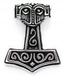Massiver Asatru Anhänger ~ STEINTHOR ~ h: 3.4 cm - Vikings Thors Hammer - Silber - Windalf.de