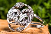 Magic Pagan Ring ~ AURIN ~ 18 mm - Schlangen Paradies Schmuck - Vintage Silber - Windalf.de