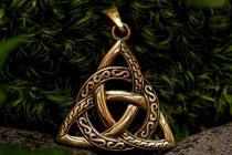 Keltischer Anhänger ~ TRILA ~ 3.5 cm - Knotenmuster Amulett - Bronze - Windalf.de