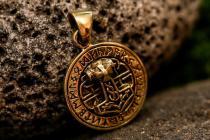 Wikinger Anhänger ~ RUTHAR ~ Ø 2 cm - Thorshammer mit 24 Runen - Hochwertige Bronze - Windalf.de