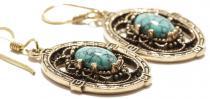 Mittelalterliche Ohrhänger ~ GRACE ~ 3.9 cm - Türkis - Vintage Bronze - Windalf.de