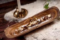 Hobbit Schale ~ GALINA ~ 35 cm - Elfen Antipasti Baquett Teakholzchale - Handarbeit aus Holz - Windalf.de