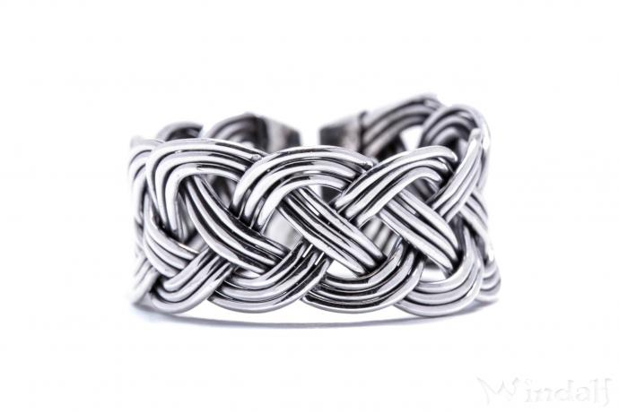 Breiter Wikinger Ring ~ ROHAN ~ h: 1.1 cm - Flecht-Muster - Silber - Windalf.de