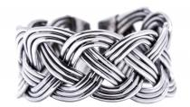 Breiter Wikinger Ring ~ ROHAN ~ 1.1 cm - Zopfmuster - Offener Ring - Silber - Windalf.de