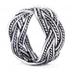 Breiter Wunsch Ring ~ ZORAN ~ 12 mm - Wikinger Zopf Muster Bandring - Handgeschmiedet - Vintage Silber - Windalf.de
