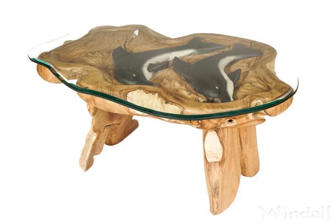 Couchtisch mit Glasplatte ~ DELPHY ~ Länge: 118 cm - Schwarze Delphine - Handarbeit aus Holz - Windalf.de