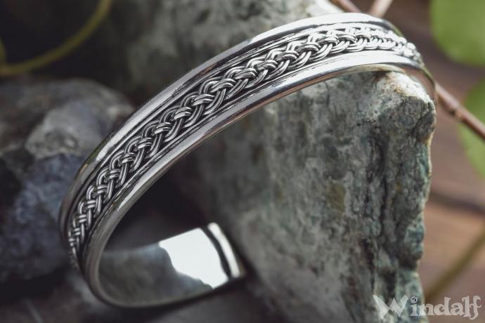 Asatru Wikinger Armschmuck ~ ICONA ~ Ø 6 cm - Flecht Zopf Muster - Vikings Armreif - Handgeschmiedet aus Vintage Silber - Windalf.de