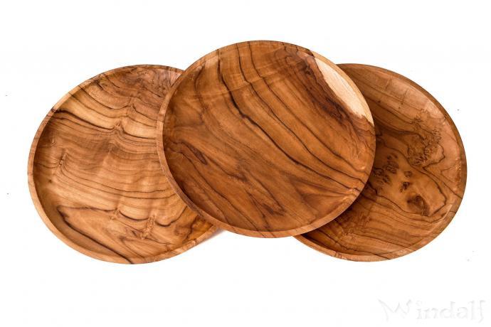 Großer Mittelalter Deko Holzteller ~ RIANA ~ Ø 30 cm - Brotzeit-Teller - Handarbeit aus Holz - Windalf.de