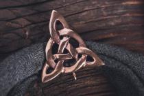 Kelten Fibel ~ TROIKA ~ h: 3.6 cm - Keltischer Knoten - Bronze - Windalf.de